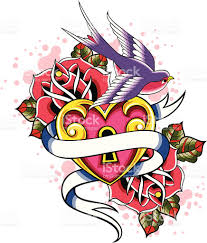 100 rose and swallow tattoo heart and roses tattoo design