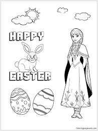 disneys frozen anna and easter bunny coloring page free coloring
