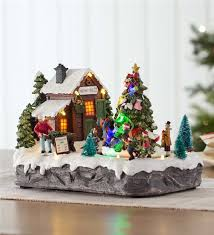 lighted christmas decorations indoor lighted christmas village music box indoor holiday decorations