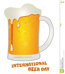 beer vector international beer day august glass with beer vector stock