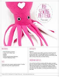 squid stuffed animal sewing pattern plush toy pdf pattern