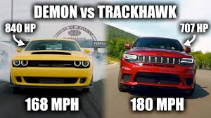 jeep tomahawk hellcat the jeep trackhawk is technically faster than a dodge demon youtube