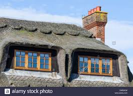 roof of a house with scalloped thatched roof and dormer windows