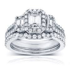 white gold wedding sets cut diamond 3 halo wedding set 1 1 2 ctw in 14k white gold