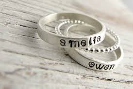 day rings personalized personalized stacking rings with beaded spacer ring