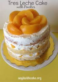 layered tres leches cake with peaches recept kakor tårtor med