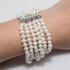 pearl clasp bracelet images 7 5 quot white 6 strand 4mm pearl bracelet with silver clasp jpg