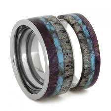 titanium wedding band sets unique ring set titanium wedding bands set with turquoise antler