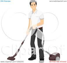 clipart of a young asian man vacuuming royalty free vector