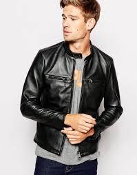 black leather biker jacket replay leather biker jacket vintage look in black for men lyst