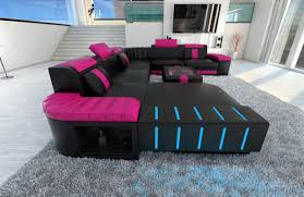sofa mit led sectional sofa bellagio led u shaped black pink ebay