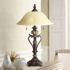 Accent Table Lamp Amor Collection Glass Shade Accent Table Lamp In Bronze R9411
