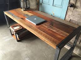 Hardwood Computer Desk Reclaimed Wood Patchwork Desk Gadgetsup