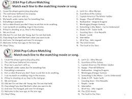 hunger games theme song pop culture matching answers match each line to the matching movie