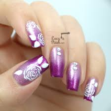 acrylic nails with abstract rose nail art with vpp polishes