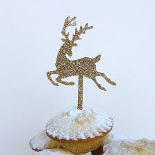 Christmas Cake Decorations Reindeer by Gold Glitter Christmas Reindeer Cake Topper By Miss Cake
