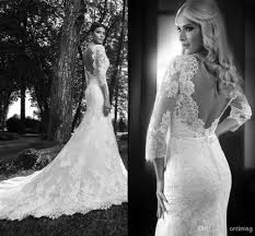 long sleeve mermaid wedding dresses open back popular wedding