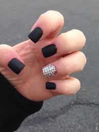black matte nails with bling ring finger like pinterest