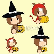 Cute Halloween Graphics by Cute Halloween Baby Horse Cartoon Set U2014 Stock Vector Hayashix23