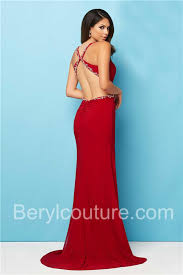 v neck high slit side cutout backless long red jersey beaded