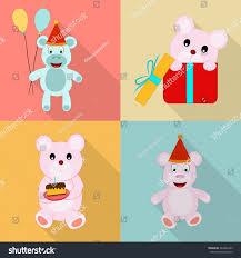 teddy in a balloon gift set four birthday icons teddy balloon stock vector 244242445