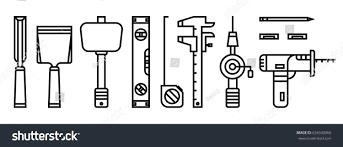 Woodworking Machine Service Repair by Set Icon Tools Line Style Carpentry Stock Vector 626540966