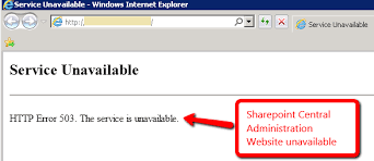 site unavailable http error 503 the service is unavailable error on sharepoint