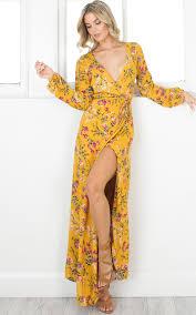 floral maxi dress autumn falls maxi dress in mustard floral showpo