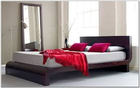 rectangle black leather bed frame with rectangle headboard and