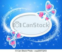 butterfly with roses and frame for text or photo eps vector