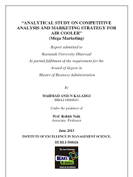 analytic study on competitive analysis u0026 marketing strategy for