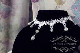 white lace necklace images Handmade ivory white lace choker bridal lace choker formal jpg