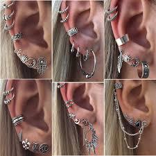 clip on dangle earrings 8pc boho women retro silver ear clip stud dangle earrings set