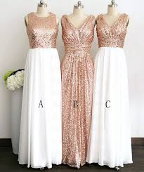 gliiter rose gold sequins bridesmaid dress white chiffon long