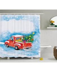 fall sale christmas shower curtain set vintage red truck in