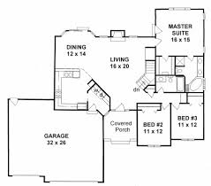 plan 1672 3 bedroom ranch w angled walls and 3 car garage