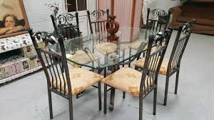 Wrought Iron Dining Table And Chairs Ex Stevensons Large Wrought Iron Dining Table 6 Chairs In Vgc