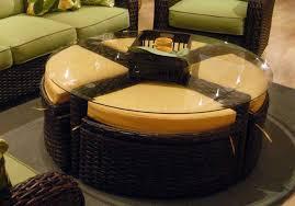coffee table dentro home athena woven leather ottoman round coffee