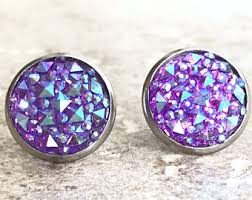 purple stud earrings purple stud earrings etsy
