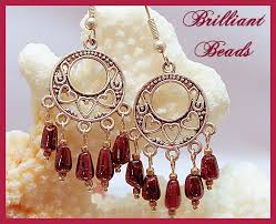 Garnet Chandelier Earrings Brilliant Handmade Lwork Glass Beaded Jewelry By