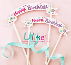 banner cake topper kids party supply paper cake topper banner pattern happy birthday