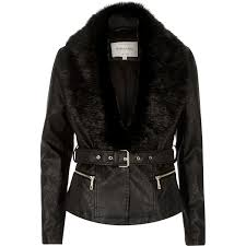 womens leather jacket with faux fur collar cairoamani