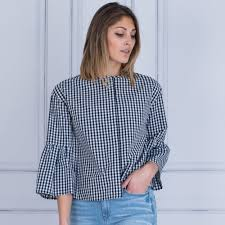 louisa cerano luisa cerano 278187 2192 gingham blouse with gathered flute sleeve