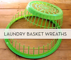 how to turn 1 dollar store laundry basket into 2 wreaths