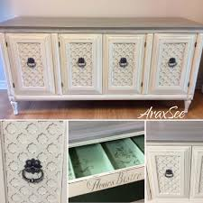 solid wood refurbished buffet chalk painted linen white with