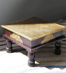 sheesham wood solid square table with brass fitted wooden chowkie manufacturer from surendranagar