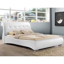 Amazoncom Baxton Studio Pergamena Leather Contemporary Bed - White leather contemporary bedroom furniture