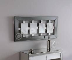 long rectangle bevelled wall mirror with square center feature