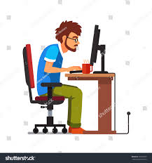 middle age work addict geek sitting stock vector 325206035