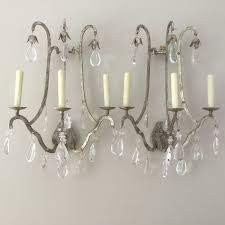 Crystal Wall Sconces by Holly Hunt Vintage Silver Iron Crystal Crystal Wall Sconces Sconce